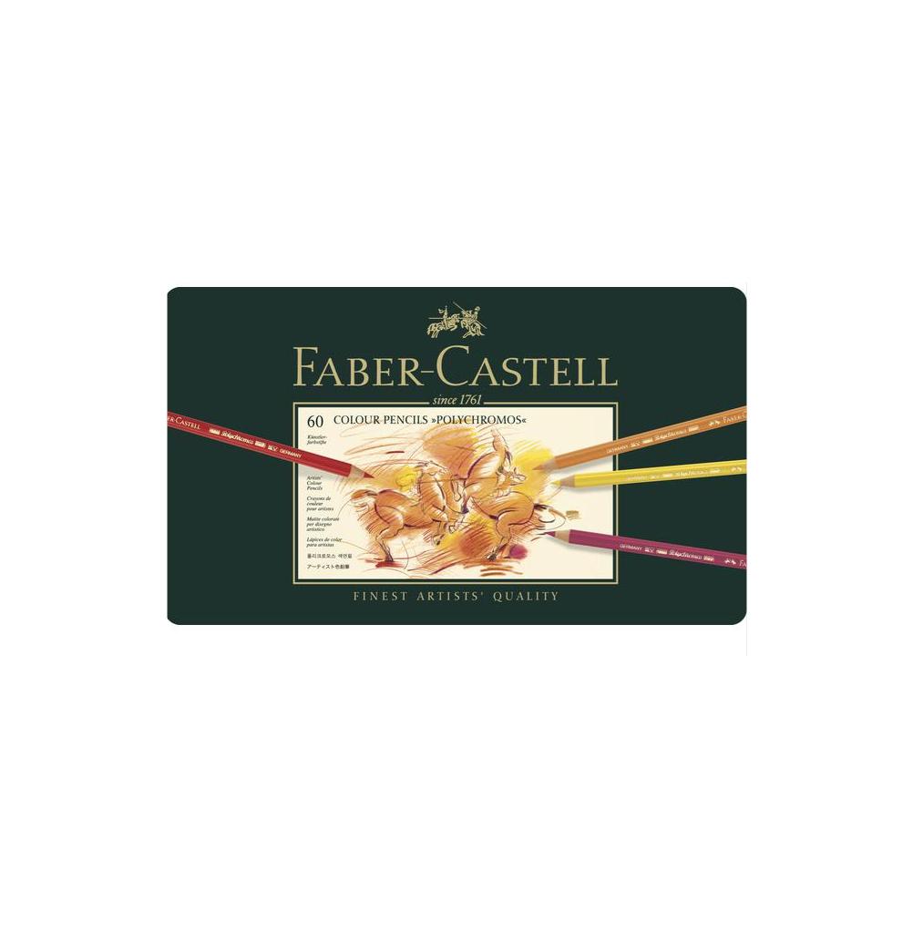 FABER CASTELL X 60 POLYCHROMOS COLOUR PENCILS CRAYON COULEUR ART ARTISTE DESSIN PRO COMASOUND KARTEL 4005401100607 CSK ONLINE