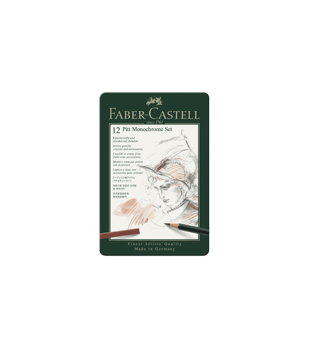 FABER CASTELL 12 PITT MONOCHROME SET PENCILS SUPERIOR QUALITY ART DRAW DESSIN 4005401129752 COMASOUND KARTEL CSK ONLINE