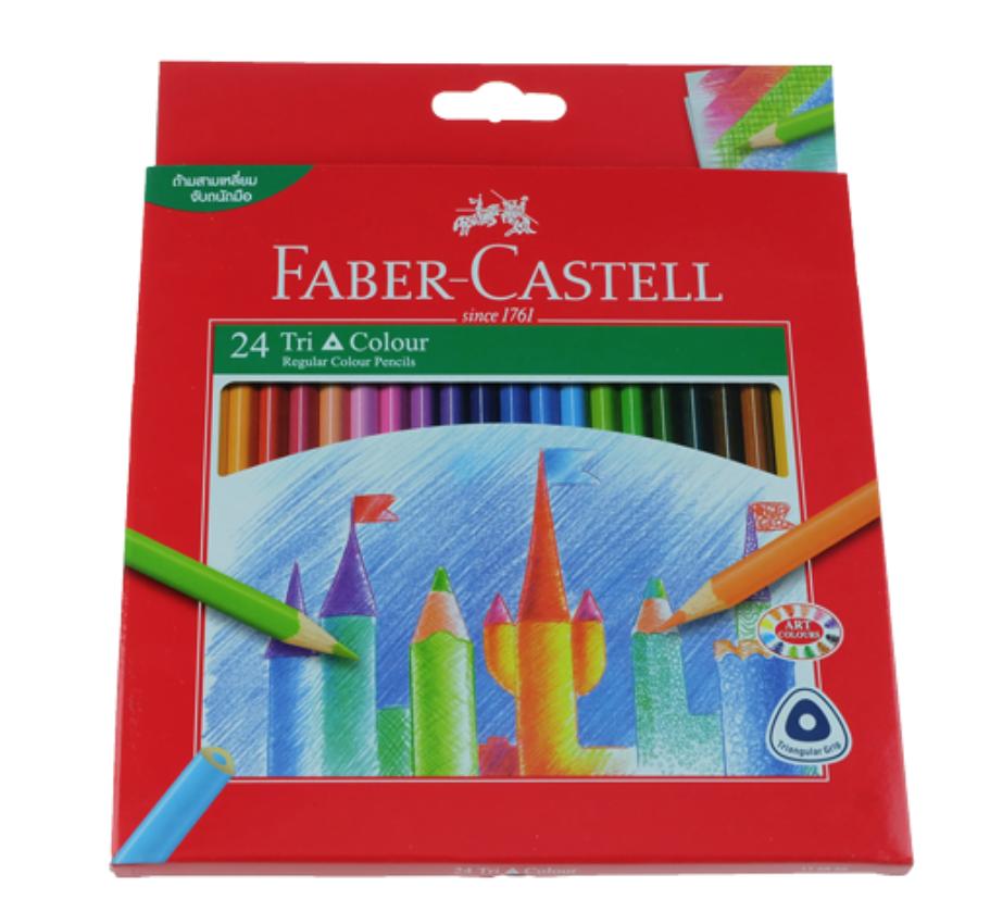 FABER CASTELL 24 TRI COLOUR PENCILS CRAYON COULEUR SCHOOL ECOLE ART ARTISTE DESSIN DRAW 8991761343012 COMASOUND KARTEL CSK ONLINE