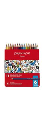 CARAN D'ACHE 18 COLOUR PENCILS WATER SOLUBLE CRAYON COULEUR  ART ARTISTE DESSIN DRAW 7630002330756 COMASOUND KARTEL CSK ONLINE