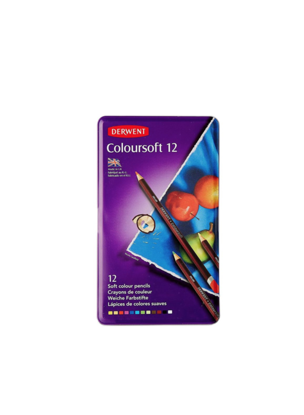DERWENT COLOURSOFT 12 PENCILS CRAYON COULEUR ART BOITE METAL ARTISTE DESSIN DRAW 5028252188920 COMASOUND KARTEL CSK ONLINE