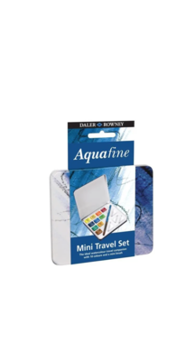 DALER ROWNEY AQUAFINE MINI TRAVEL SEL AQUARELLE  ARTISTES ART DESSIN DRAW PEINTURE X 12 METAL BOX WATERCOLOR 5011386094205 COMASOUND KARTEL CSK ONLINE