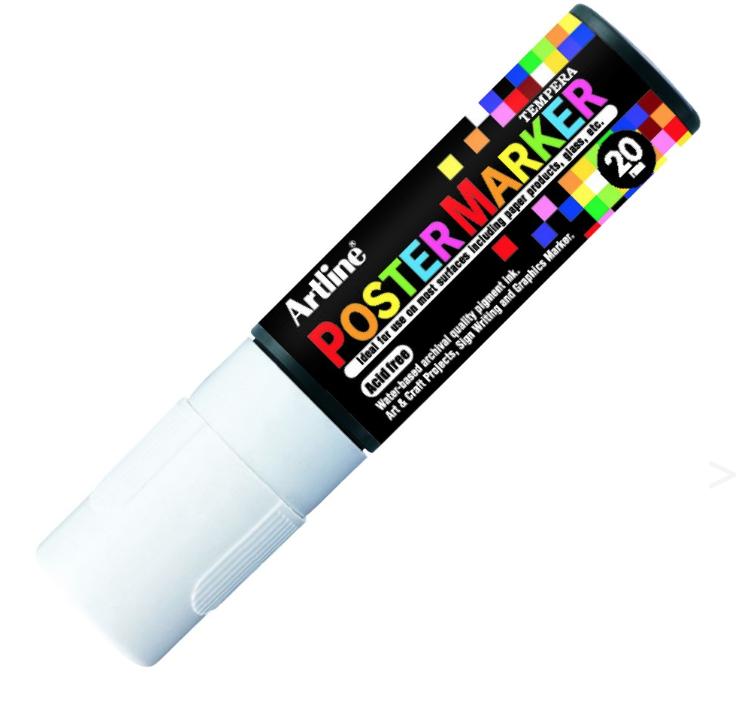 ARTLINE POSTER MARKER TEMPERA 20 FLUO WHITE (BLANC) MARKER ART GRAFFITI SKETCH DRAW ARTISTE TAG SHOP PRO 4974052852121 COMASOUND KARTEL CSK ONLINE