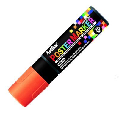 ARTLINE POSTER MARKER TEMPERA 20 FLUO ORANGE MARKER ART GRAFFITI SKETCH DRAW ARTISTE TAG SHOP PRO 4974052860577 COMASOUND KARTEL CSK ONLINE