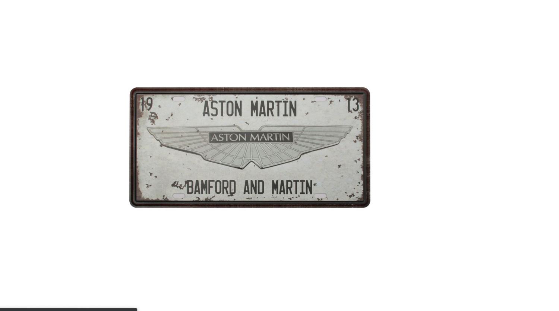 PLAQUE PUBLICITAIRE 30 X 15 CM METAL ASTON MARTIN DECORATION DECOR MAISON SHOP BOUTIQUE BAR COLLECTION  COMASOUND KARTEL CSK ONLINE