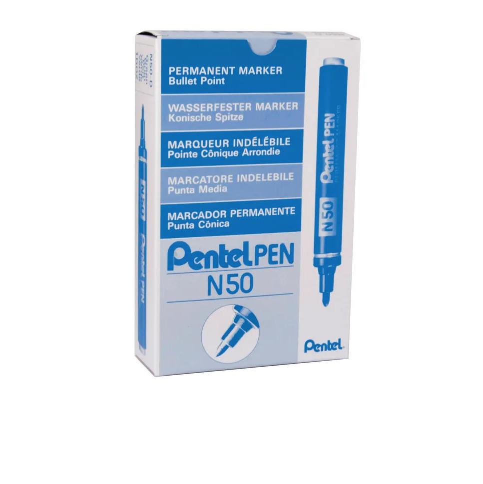PENTEL PEN MARKER N50 X 12 PCS  BLUE INDELEBILE LOT SET PACK MARQUAGE 4902506985293 ART GRAFFITI TAG DRAW PRO SHOP STORE MARQUEUR ROTULADOR COMASOUND KARTEL CSK ONLINE