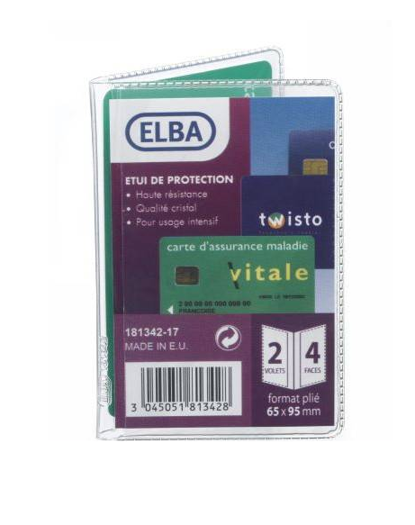 ELBA ETUI 4 CARTES 100202636 CARTE CREDIT BLEU PERMIS VITAL PROTECTION SCHOOL OFFICE SHOP WRITING 3045051813428 COMASOUND KARTEL CSL ONLINE