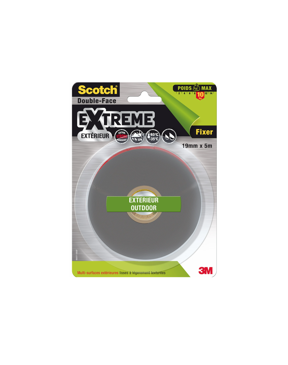 SCOTCH DOUBLE FACE EXTREME EXTERIEUR MULTI-USAGE 5902658111754 FIXATION ADHESIVE BOITES AUX LETTRES ADHESIF 7Kg  OUT SIDE 19mm x 5m BRICOLAGE COMASOUND KARTEL