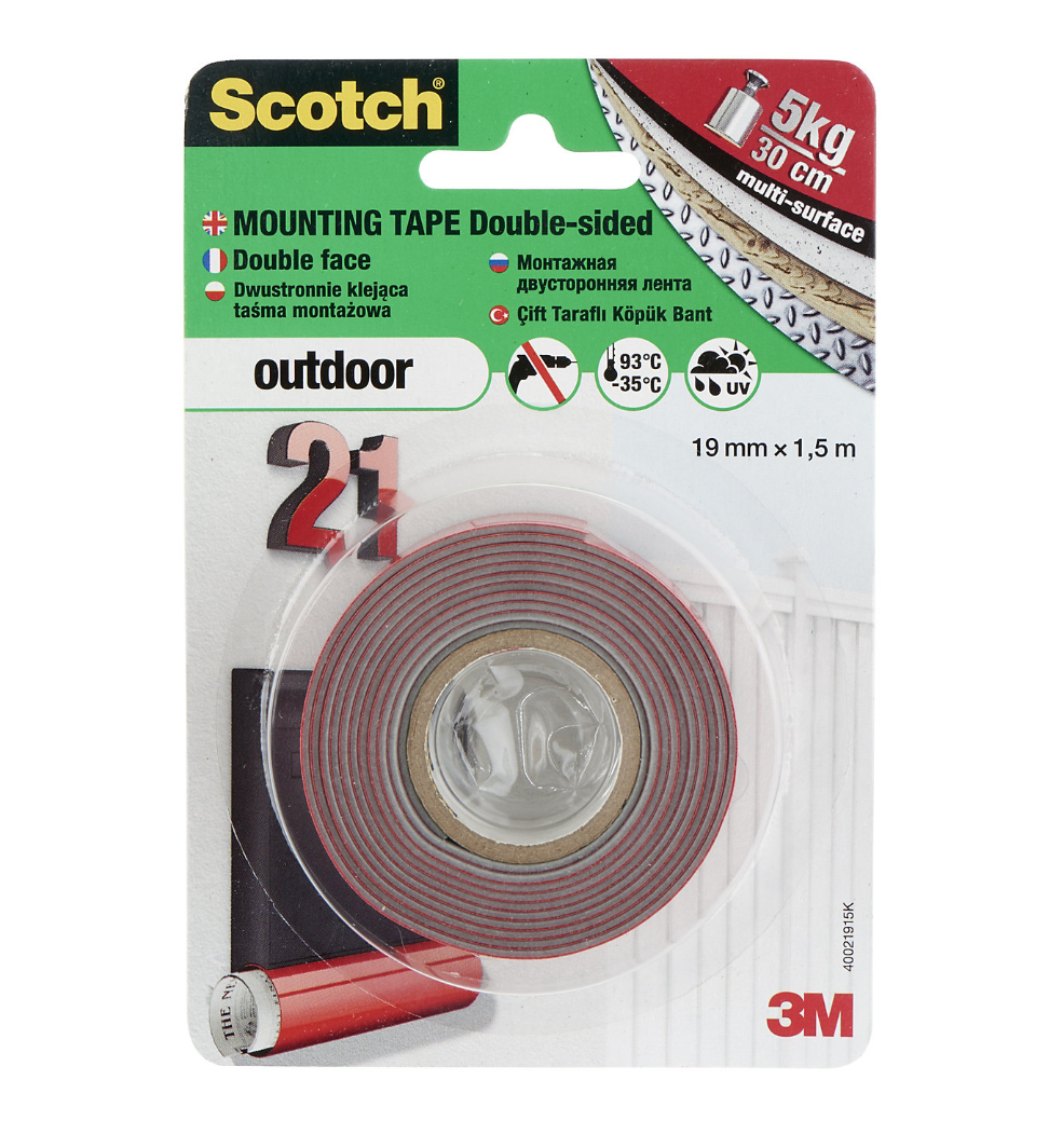 SCOTCH DOUBLE FACE OUTDOOR EXTERIEUR MULTI-USAGE 5902658096044 FIXATION ADHESIVE BOITES AUX LETTRES ADHESIF 10Kg  OUT SIDE 19mm x 1.5m BRICOLAGE COMASOUND KARTEL