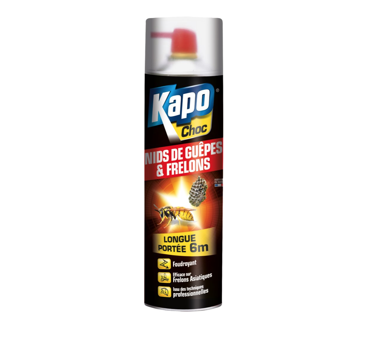KAPO CHOC NIDS DE GUEPES & FRELONS SPRAY AEROSOL PROTECTION INSECTE 500 ML GARDEN 3365000031100 HOME SECURITY COMASOUND KARTEL