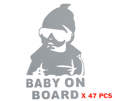 x 47 pcs BABY ON BOARD BEBE A BORD ARGENT SECURITE LOT PACK STICKER AUTOCOLLANT ADHESIF AUTO CAR  SILVER TRUCK VAN VOITURE VEHICULE  15 cm ADHESIF X000MR6PQ7 COMASOUND KARTEL CSK ONLINE