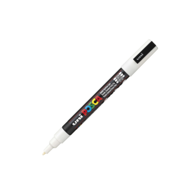 UNI POSCA PC-3M WHITE MARKER ART GRAFFITI 4902778915912 BLANC SKETCH DRAW ARTISTE TAG SHOP PRO COMASOUND KARTEL CSK ONLINE SHOP DECORATION