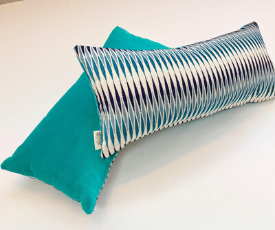 Wavy Goodbye /Azure Lozenge cushion