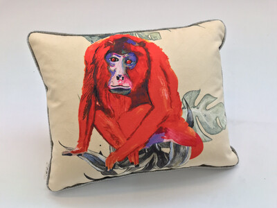Red Howler/ Snub/nosed monkey lozenge cushion