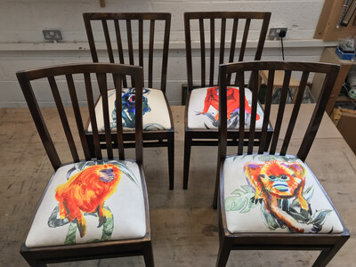 Set of 4 reclaimed Dining room chairs
