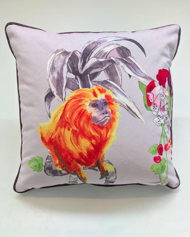 Lilac/Floral Velvet Magic Monkey Cushion