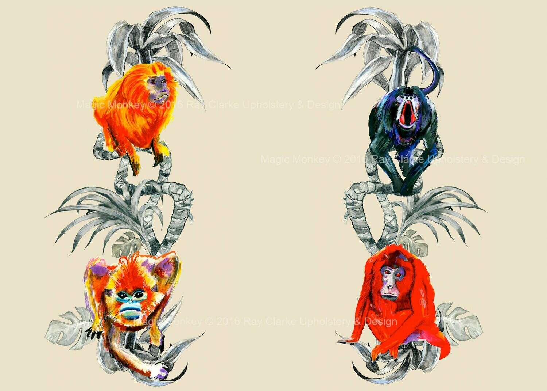 Magic Monkey Textile Print © 2016 Ray Clarke Upholstery