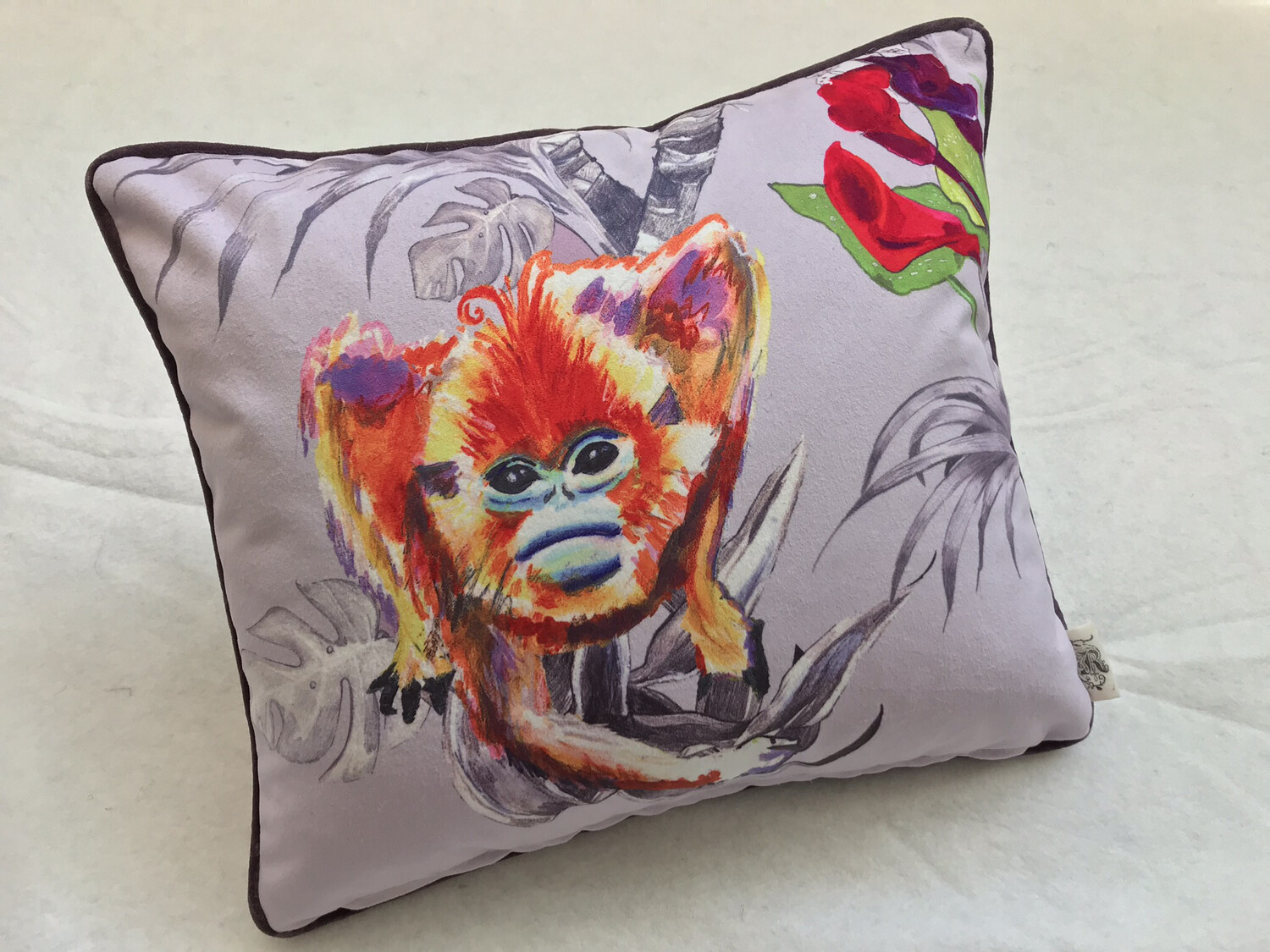 Lilac floral Snub-Nosed / Red Howler Monkey Scatter Cushion