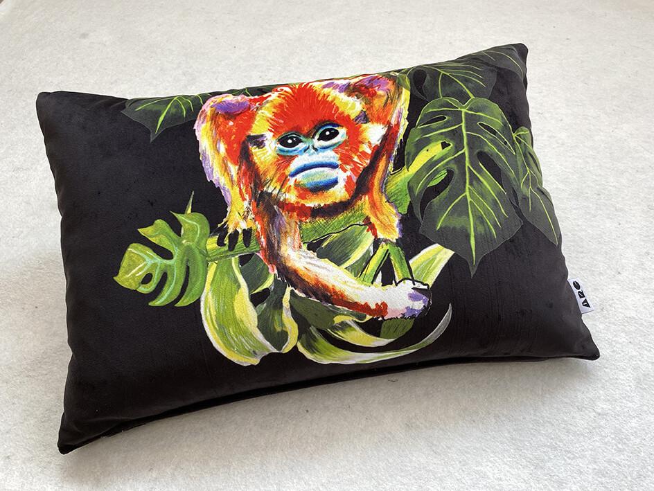 Black Velvet Snub-nosed Magic monkey Cushion