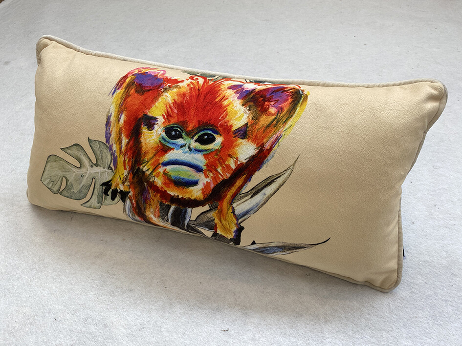 Cream Snub-Nosed Magic Monkey Lozenge Cushion
