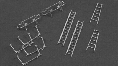 River Point Ladder Set Satin Plated - 2 Each: 6' Step Ladder Extension Ladder; Front & Rear Rack Front Brush Guard