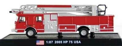 William Tell International 2005 E-ONE HP 75 Fire Ladder Truck - Red, Silver