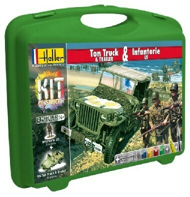 Heller 1/72 1/4-Ton Truck, Trailer & US Infantry w/Paint & Glue in plastic carrying case