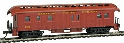 Con-Cor 1880s Canadian Pacific #135 Wood Open-Platform Baggage-RPO