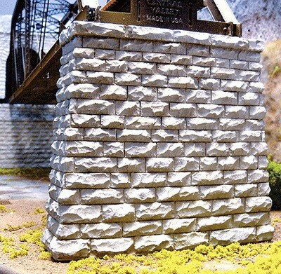 Chooch Single-Track Cut Stone Bridge Pier w/Rectangular Base -- 3-3/4 x 1 x 3-1/2  9.5 x 2.5 x 8.9cm
