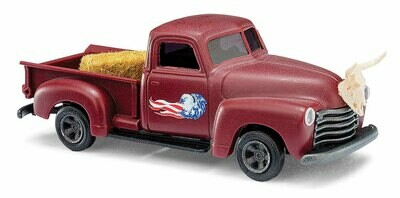 Busch 1950 Chevrolet Pickup Truck - Assembled -- Maroon US Flag Graphics Cattle Skull on Hood