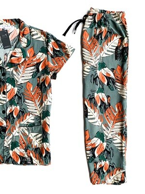 TEAL RUST LEAF - RAYON (M ONLY)