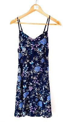 NAVY FLORAL STRAPPY NIGHTIE - RAYON