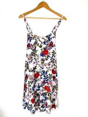 WHITE FLORAL STRAPPY NIGHTIE - RAYON