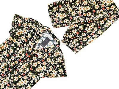 BLACK SMALL FLORAL- RAYON