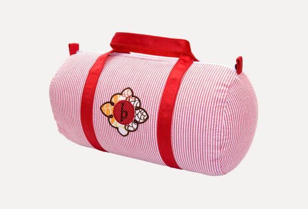 Medium Red Seersucker Duffle Bag