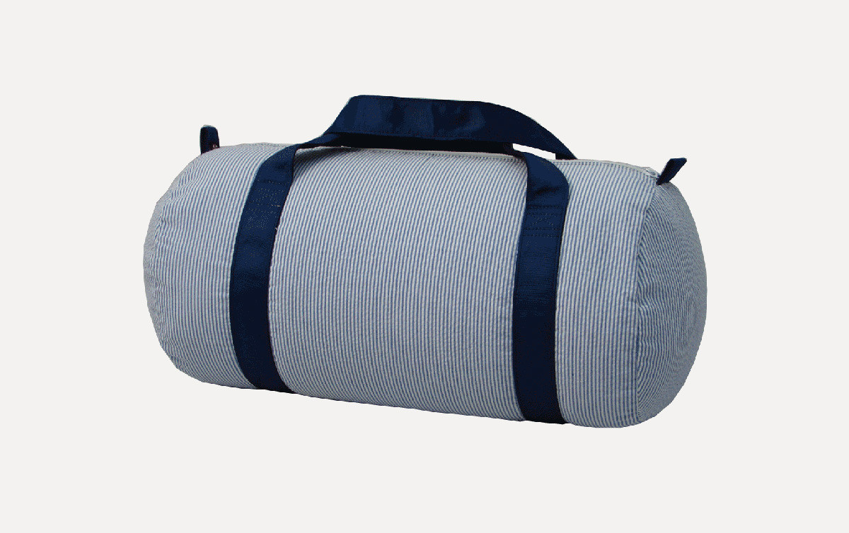 Medium Navy Seersucker Duffle Bag