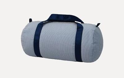 Medium Navy Seersucker Duffle Bag