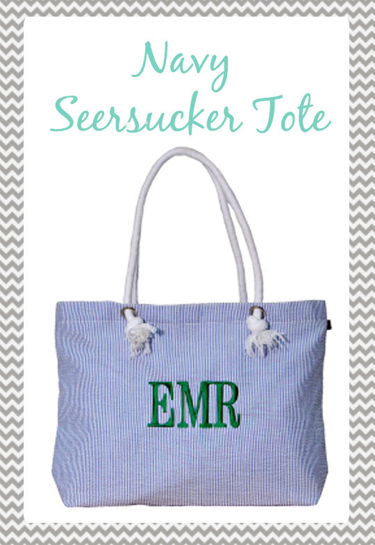 Navy Seersucker Everything Tote