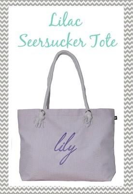 Lilac Seersucker Everything Tote