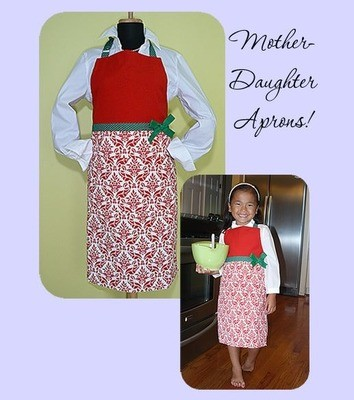 Mother & Daughter Christmas Aprons