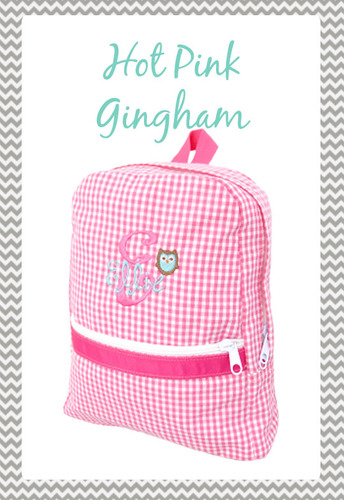 Small Hot Pink Gingham Backpack