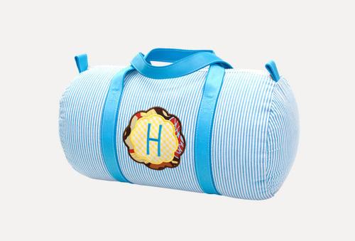 Medium Aqua Seersucker Duffle Bag