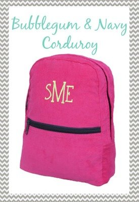 Small Bubble Gum & Navy Corduroy Backpack