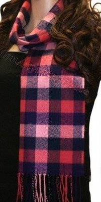 Red, Pink & Navy Check Scarf