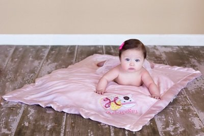 Satin Trim Tahoe Microfleece Baby Blanket