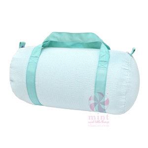 Medium Mint Seersucker Duffle Bag