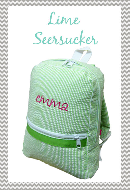 Small Lime Seersucker Backpack