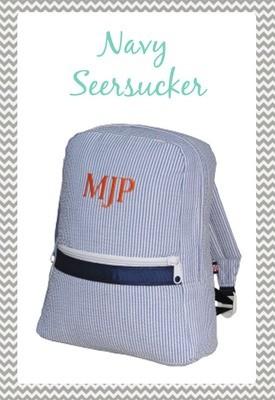 Small Navy Seersucker Backpack