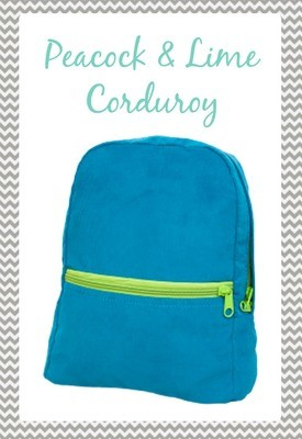 Small Peacock & Lime Corduroy Backpack