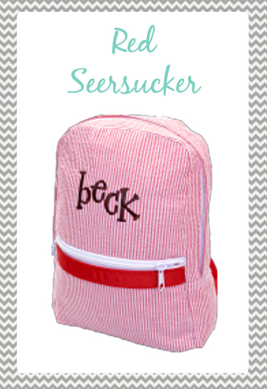 Small Red Seersucker Backpack